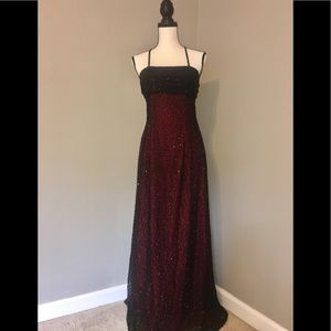 100% Silk Beaded Cache Evening/Prom Gown